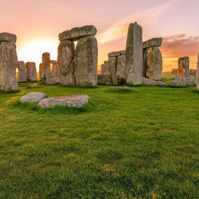 Romantischer Sonnenuntergang Stonehenge