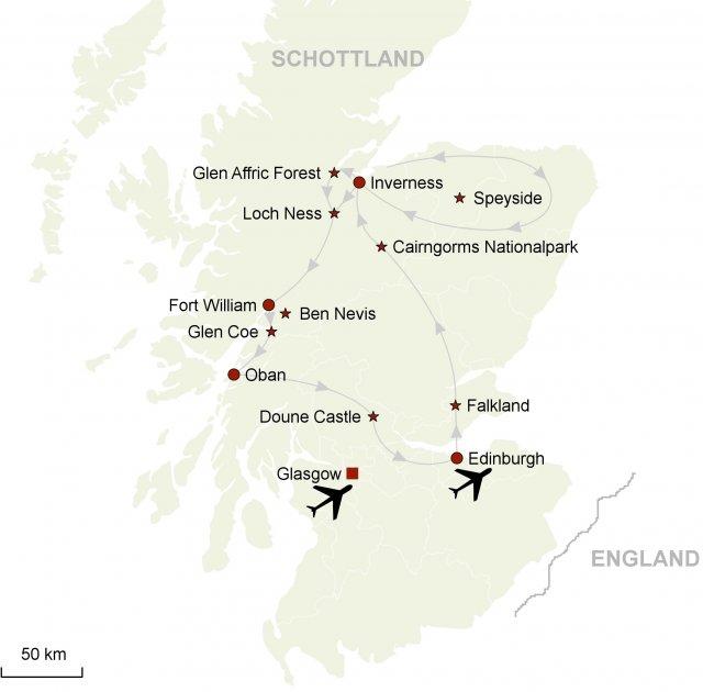 Schottland Karte Highlands.Outlander Highland Saga Eine Pkw Rundreise Auf Den Spuren Von